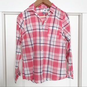 Old Navy | Pink Plaid Button Down Shirt